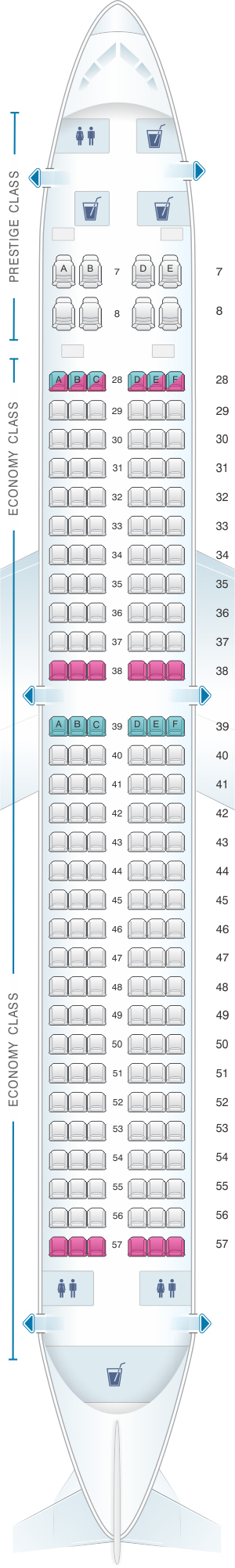 Seat map for Korean Air Boeing B737 900 188PAX