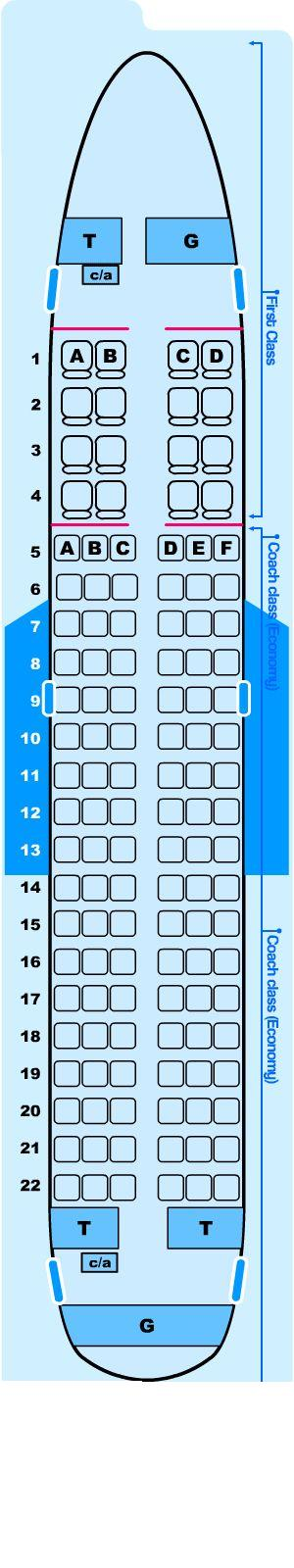 Seat map for Northwest Airlines Airbus A319 100
