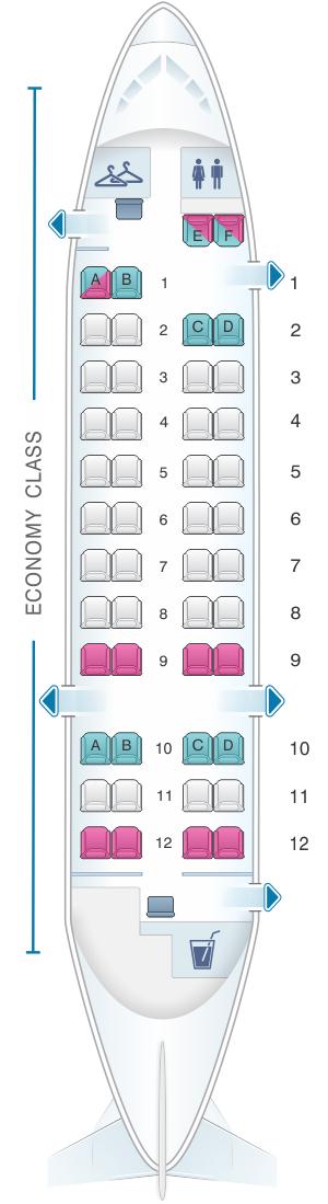 Seat map for Qantas Airways Bombardier Dash 8 Q300