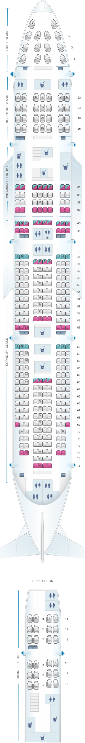 Seat map for Qantas Airways Boeing B747 400 353PAX
