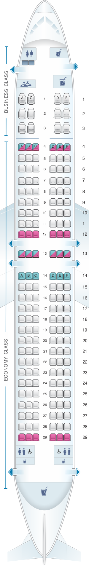 Seat Map Qantas Airways Boeing B737 800 168PAX | SeatMaestro
