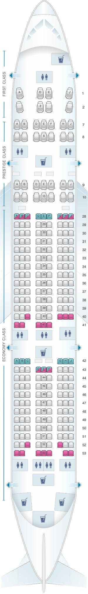 Seat map for Korean Air Boeing B777 200ER Kosmo Sleeper