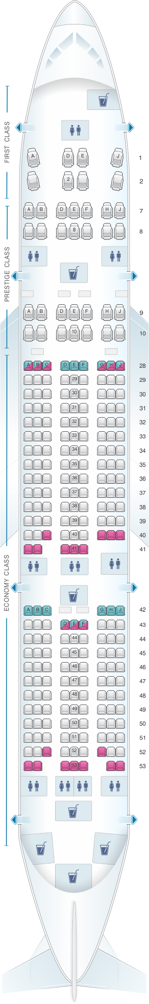 Seat map for Korean Air Boeing B777 200ER 261PAX