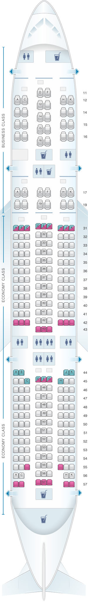 Seat map for Singapore Airlines Boeing B777 200 SQ Series