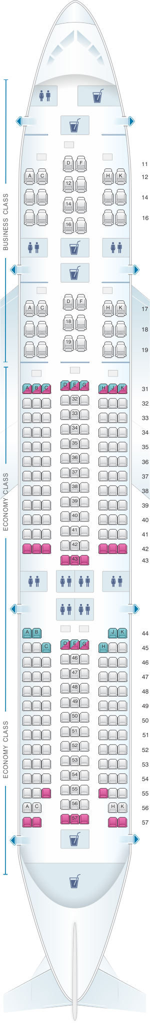 Seat map for Singapore Airlines Boeing B777 200 SR Series