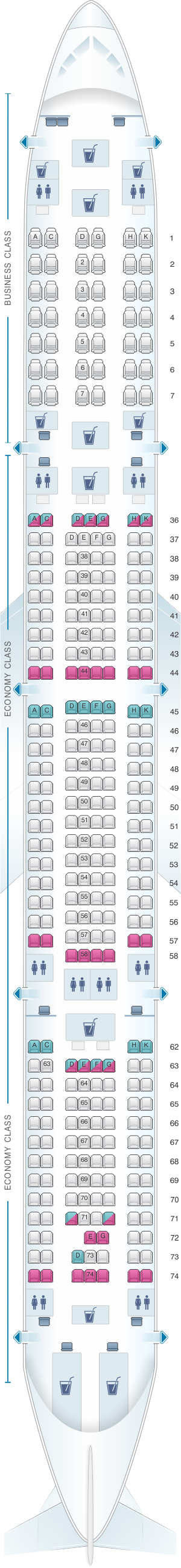 Seat map for South African Airways Airbus A340 600