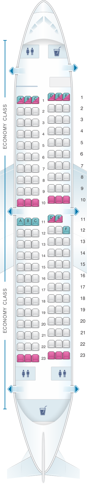 Seat map for Southwest Airlines Boeing B737 300 137pax