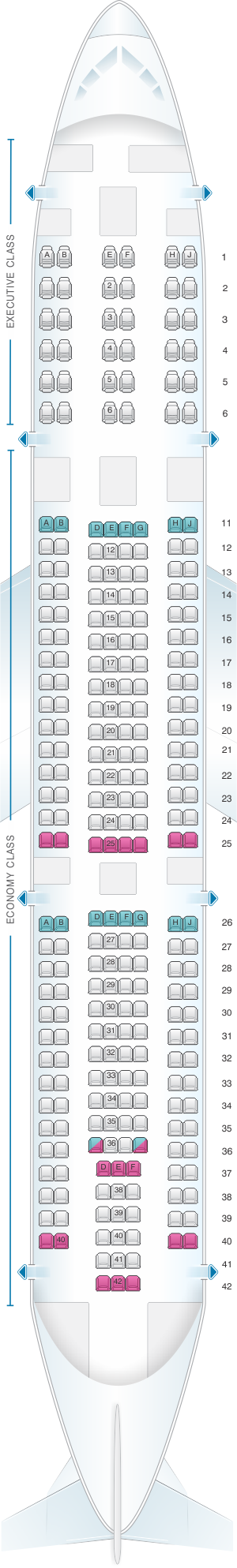 Seat map for TAP Air Portugal Airbus A340