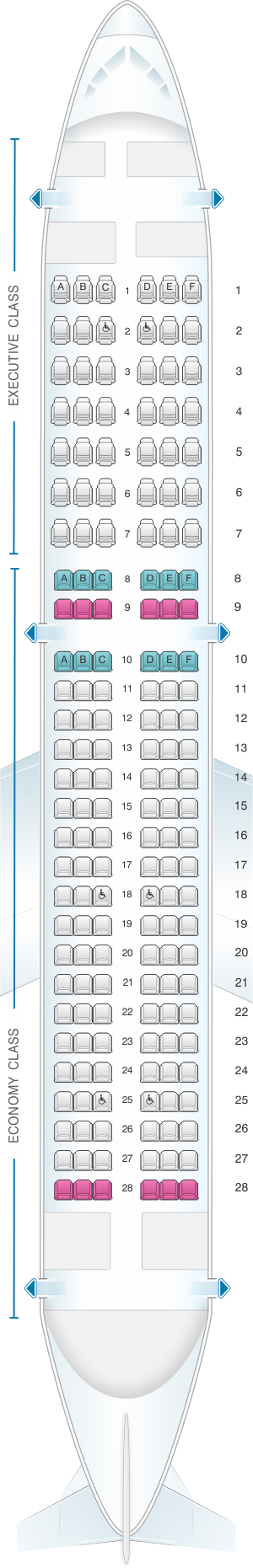 Seat map for TAP Portugal Airbus A320