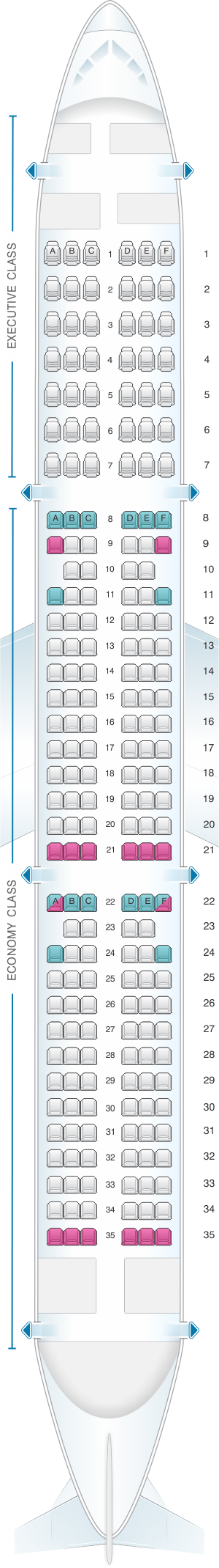 Seat Map Tap Portugal Airbus A321