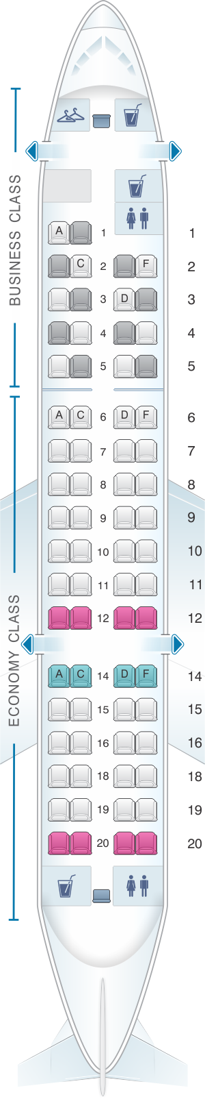 Seat map for Lufthansa Bombardier Canadair CRJ 700