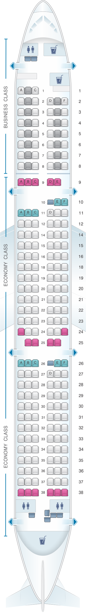 Seat map for Lufthansa Airbus A321