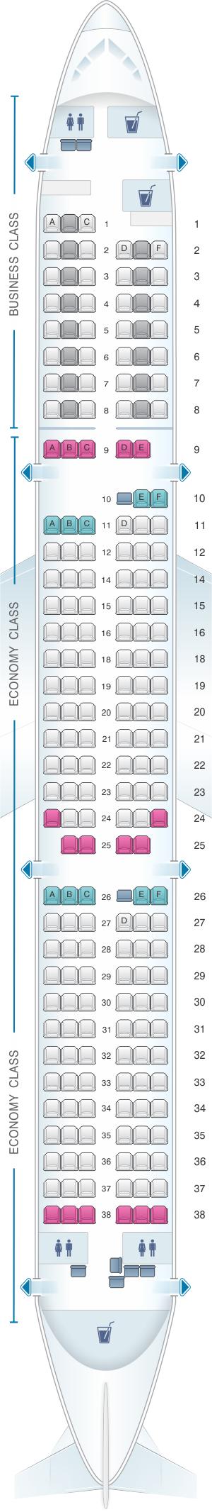 Seat Map Lufthansa Airbus A321