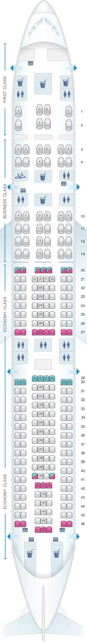 Seat map for Lufthansa Airbus A340 300 241pax version 1-2