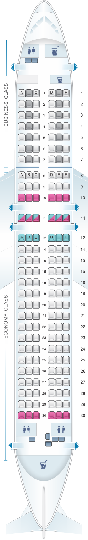 Seat map for Lufthansa Airbus A320