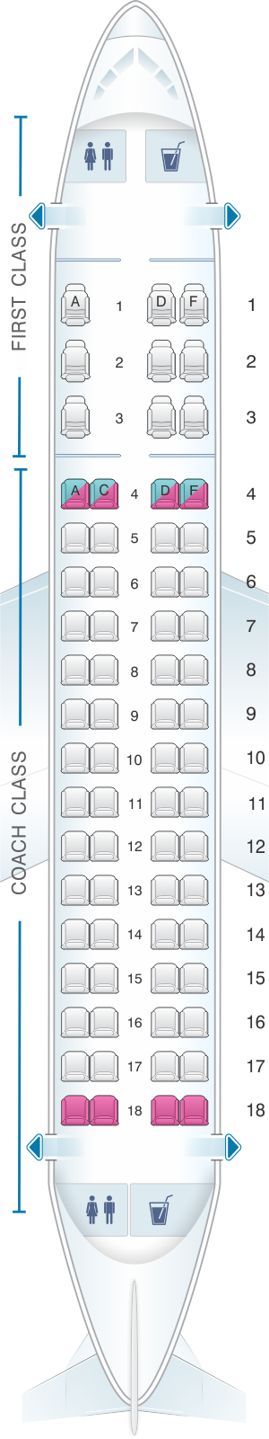 Seat map for US Airways Embraer 170