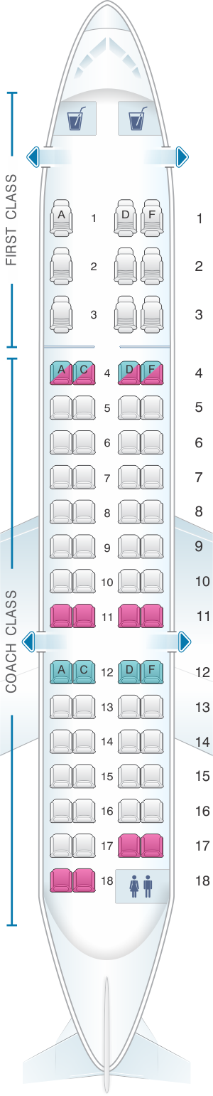 Seat Map US Airways Bombardier Canadair Regional Jet SeatMaestro - Us airways seat map