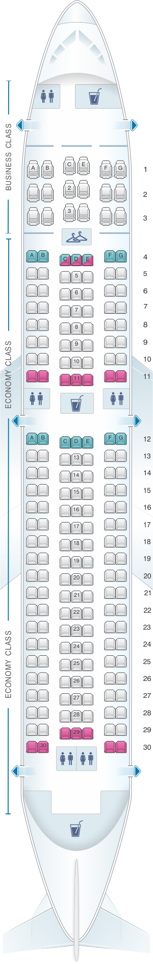Seat map for US Airways Boeing B767 200 ER
