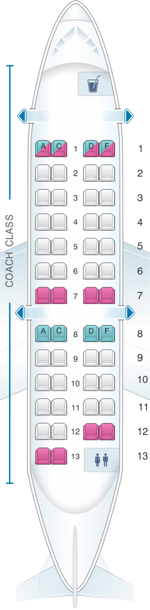 Seat map for US Airways Bombardier Canadair Jet 200