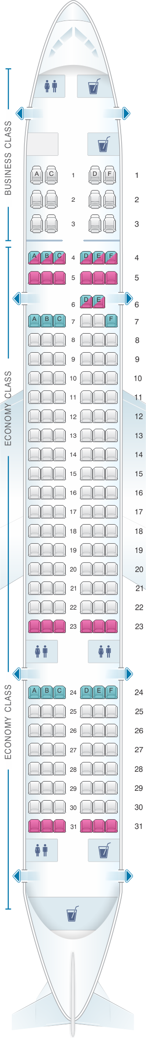 Seat map for US Airways Boeing B757 200 176pax