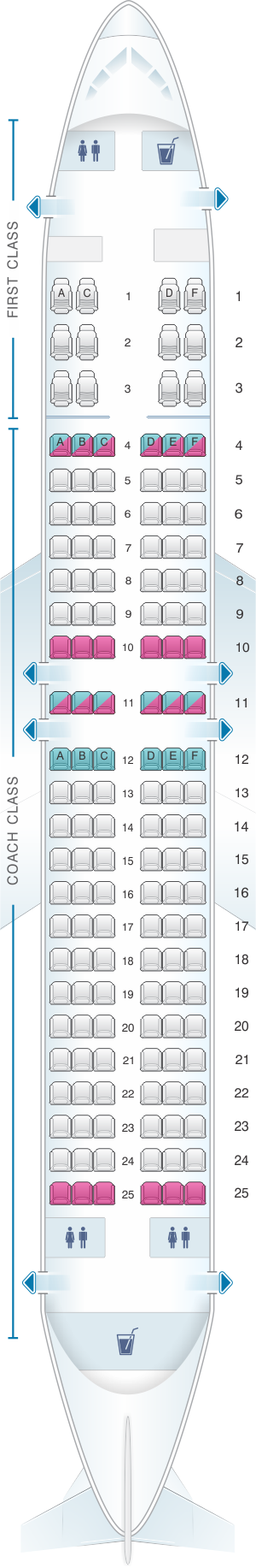 Seat map for US Airways Boeing B737 400