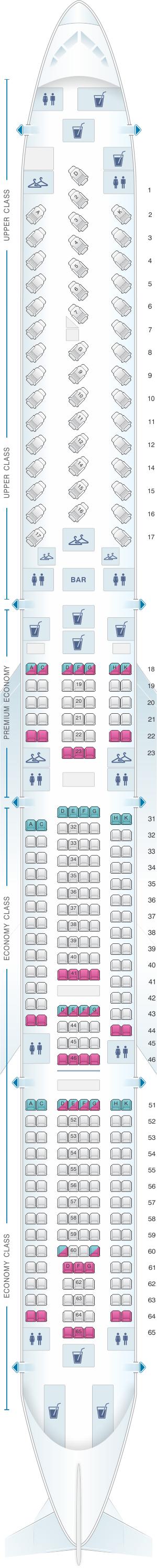 Seat map for Virgin Atlantic Airbus A340 600