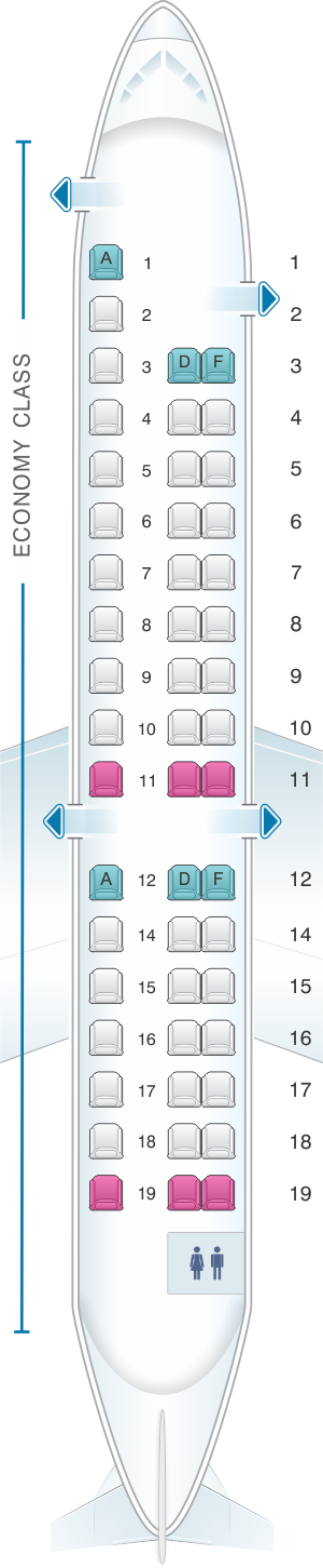 Seat map for Air France Embraer ERJ 145