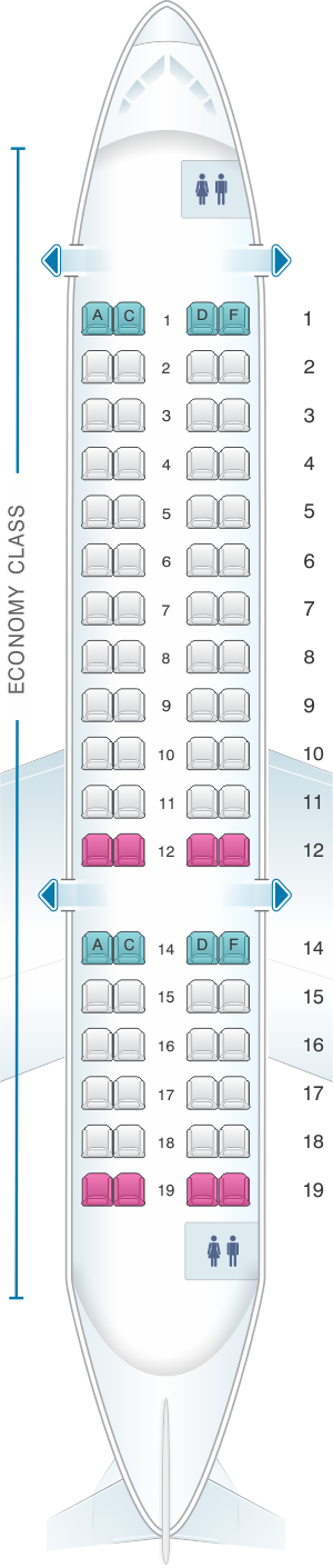 Seat map for Air France Bombardier CRJ 700