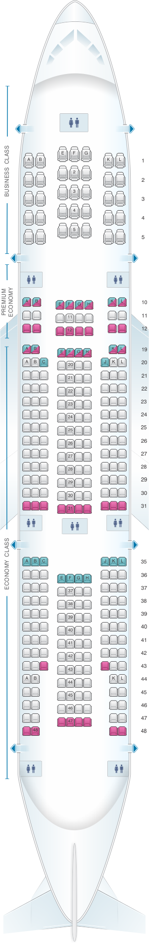 Seat map for Air France Boeing B777 200 International Long-Haul 309PAX
