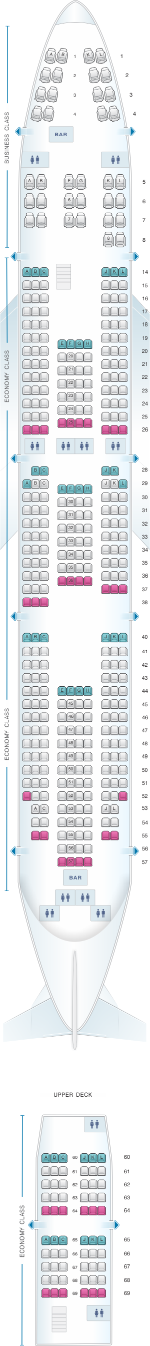 Seat map for Air France Boeing B747 400