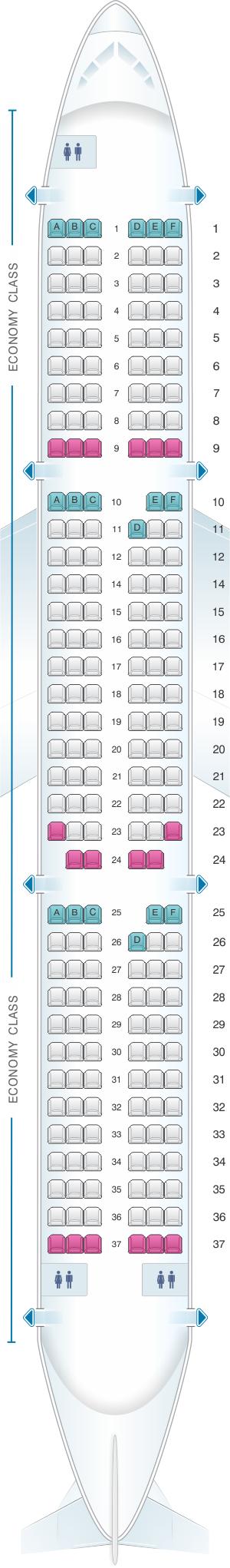 Seat map for Air France Airbus A321 Metropolitan V2