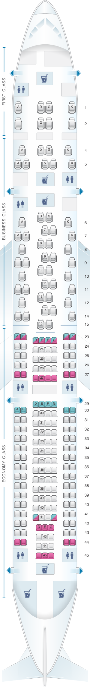Seat map for SWISS Airbus A340 300