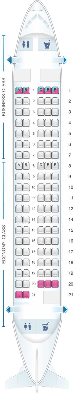 Seat map for SWISS Avro RJ100