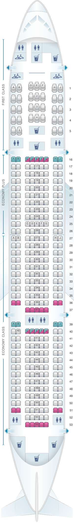 Seat map for United Airlines Boeing B777 200 (777) - version 4