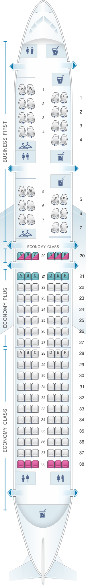 Seat map for United Airlines Boeing B757 200 (752) - version 2