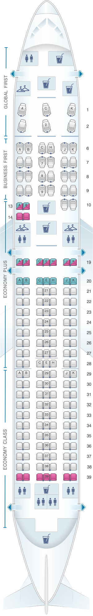 Seat map for United Airlines Boeing B767 300ER - version 1