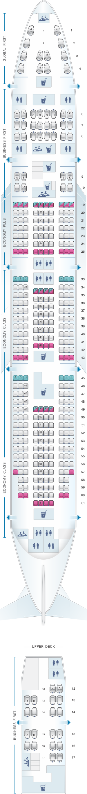 Seat map for United Airlines Boeing B747 400