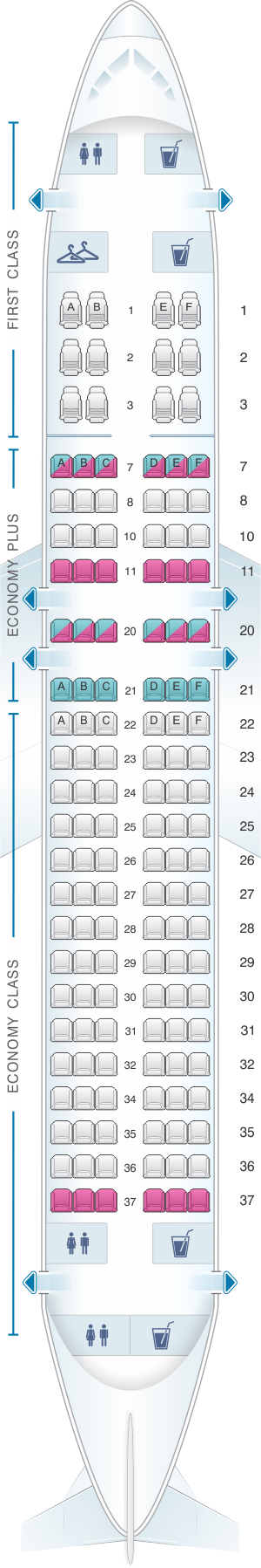 Seat map for United Airlines Airbus A320 - version 1