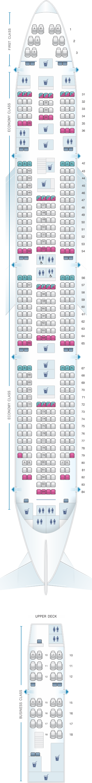 Seat map for Air India Boeing B747 400