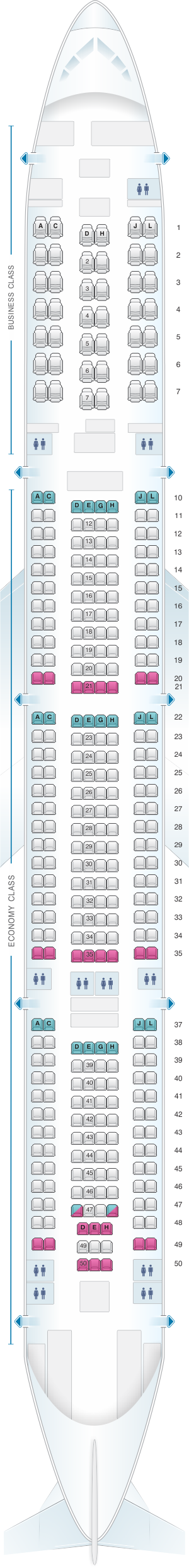 Seat map for Iberia Airbus A340 600 342pax