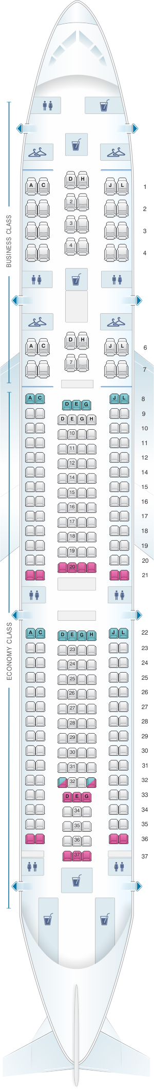 Seat map for Iberia Airbus A340 300