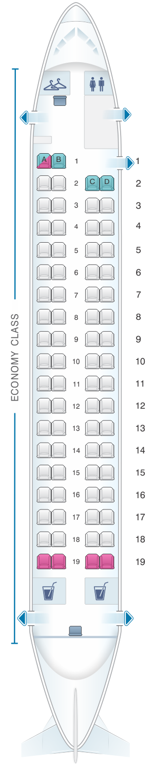 Seat map for Qantas Airways Bombardier Dash 8 Q400