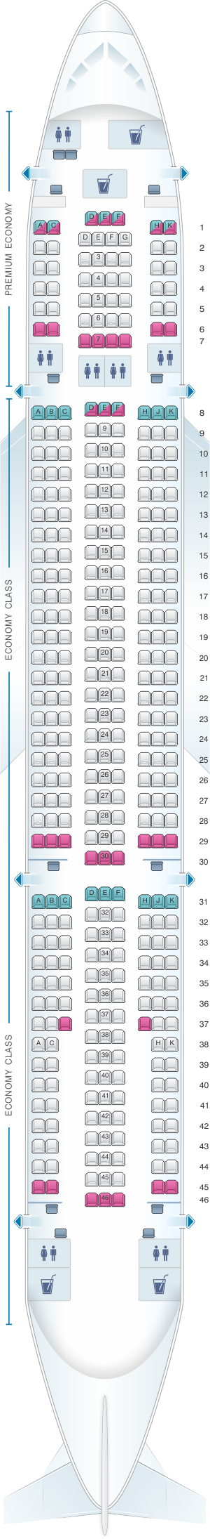 Seat map for Monarch Airlines Airbus A330 200