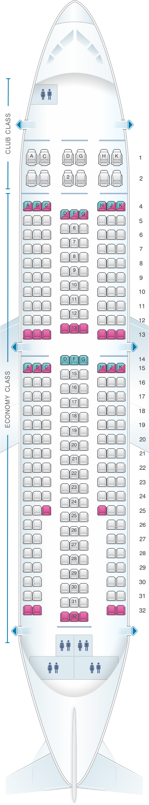 Seat map air transat airbus a310 300 for Avion air transat interieur