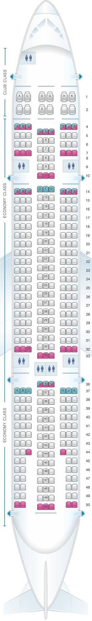 Seat Map Air Transat Airbus A330 200