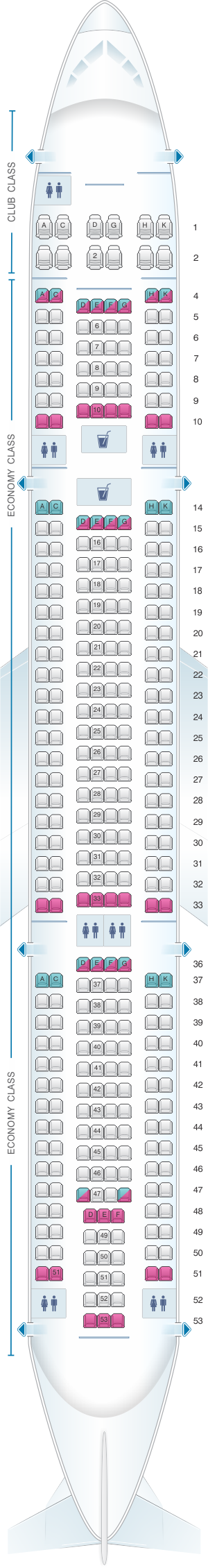 Seat map for Air Transat Airbus A330 300