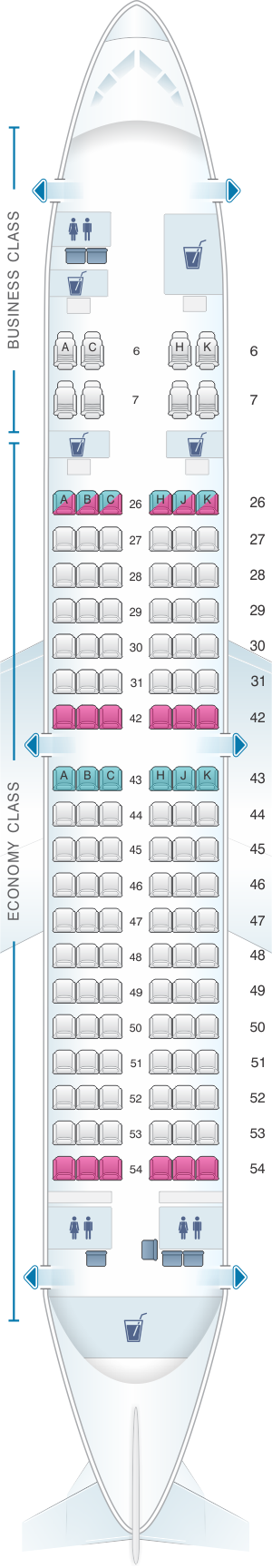 Seat Map Royal Brunei Airlines Airbus A319 | SeatMaestro.com