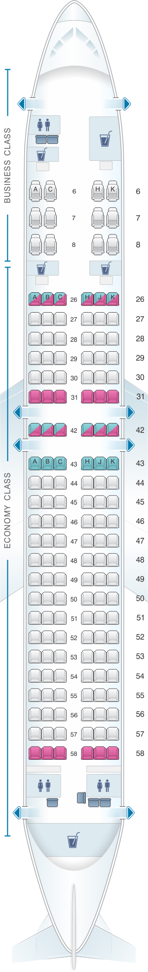 Seat map for Royal Brunei Airlines Airbus A320