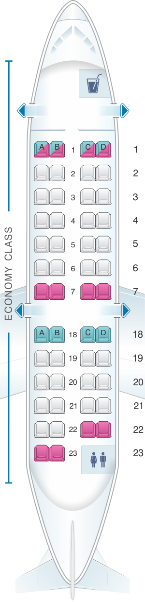 Seat map for United Airlines CRJ 200 (CR2)