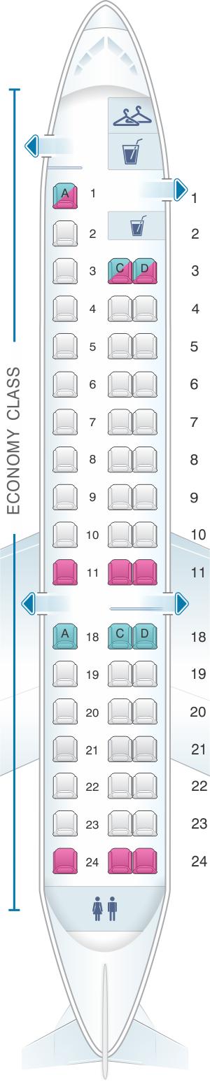 Seat map for United Airlines Embraer EMB 145 (ER4, ERJ)